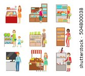 people shopping in department... | Shutterstock .eps vector #504800038