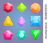 shiny gems for match thee game. | Shutterstock .eps vector #504803554