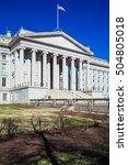 Small photo of U.S. Treasury building and monument of Alexander Hamilton, Washington DC, USA