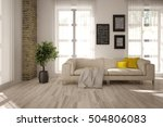 white interior design of living ... | Shutterstock . vector #504806083