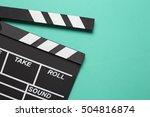 movie clapper on green...   Shutterstock . vector #504816874