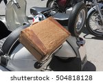 braided leather suitcase in the ... | Shutterstock . vector #504818128
