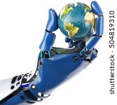 hand of robot holding the earth.... | Shutterstock . vector #504819310