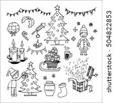 christmas icons and elements... | Shutterstock .eps vector #504822853