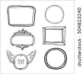 vintage frames set. hand drawn... | Shutterstock .eps vector #504823240