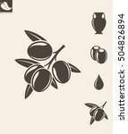abstract olives and olive oil | Shutterstock .eps vector #504826894