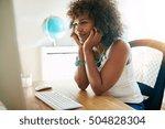 intense young businesswoman... | Shutterstock . vector #504828304