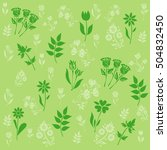 pattern with flowers on green... | Shutterstock .eps vector #504832450