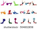 set of fitness icons  pilates ...   Shutterstock .eps vector #504832858