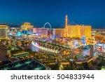 Stock photo aerial view of las vegas strip in nevada as seen at night usa 504833944