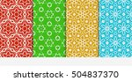 set of seamless floral color... | Shutterstock .eps vector #504837370