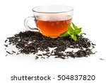black tea in a cup of glass.... | Shutterstock . vector #504837820