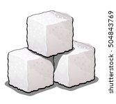 pile of sugar cubes of refined... | Shutterstock .eps vector #504843769