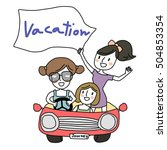 cute girls driving a... | Shutterstock .eps vector #504853354