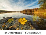 Stock photo idyllic autumn lake scenery with maple leaf on the rock 504855004