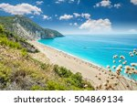 milos beach on lefkada island ... | Shutterstock . vector #504869134