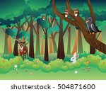 cartoon summer forest landscape ... | Shutterstock .eps vector #504871600