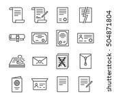 documents vector line icons set ... | Shutterstock .eps vector #504871804