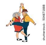 funny cartoon senior couple... | Shutterstock .eps vector #504871888