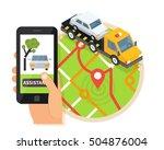 car towing truck  online... | Shutterstock .eps vector #504876004