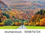 man on bicycle travel on the... | Shutterstock . vector #504876724