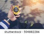 hand holding digital... | Shutterstock . vector #504882286