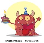 monster wearing a party hat...   Shutterstock .eps vector #50488345