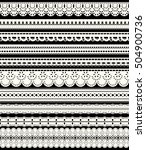 set of seamless lace borders.... | Shutterstock .eps vector #504900736