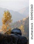 Autumn Landscape With A Rock....