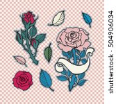 rose tattoo set. sticker  patch ... | Shutterstock .eps vector #504906034