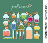 Potions Vector Flat Set. Bottl...