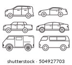 Thin Line Car Vector Set Of...