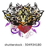grunge rhino heart with arrows. ... | Shutterstock .eps vector #504934180