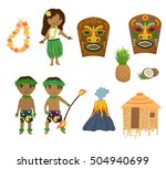hawaii cartoon set | Shutterstock .eps vector #504940699