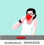 hipster teenager girl drinking...   Shutterstock .eps vector #504943558