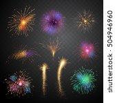 set of firework bursting vector ... | Shutterstock .eps vector #504946960