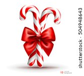Christmas Candy Cane With Red...
