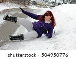 risk of accidents in winter   a ... | Shutterstock . vector #504950776