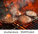 cooking burgers on hot grill... | Shutterstock . vector #504951664