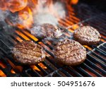 cooking burgers on hot grill... | Shutterstock . vector #504951676