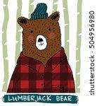 bear illustration with... | Shutterstock .eps vector #504956980