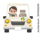 senior men get into a car | Shutterstock .eps vector #504960340