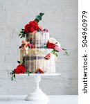 Wedding Cake With Flowers  Fig...