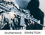 soldier with assault rifle ... | Shutterstock . vector #504967534