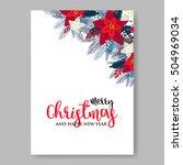 poinsettia wedding invitation... | Shutterstock .eps vector #504969034