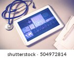 white tablet pc and doctor...   Shutterstock . vector #504972814