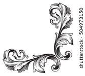 vintage baroque corner scroll... | Shutterstock .eps vector #504973150