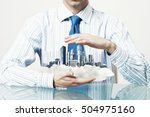 businessman sitting at table... | Shutterstock . vector #504975160