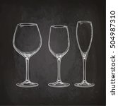 set of empty glasses. sketch... | Shutterstock .eps vector #504987310