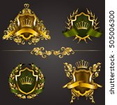 set of golden royal shields... | Shutterstock .eps vector #505006300